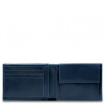 Piquadro Blue Square Herrenbrieftasche mit Portemonnaie, Kreditkartensteckfächern und Dokumentenfach Nachtblau