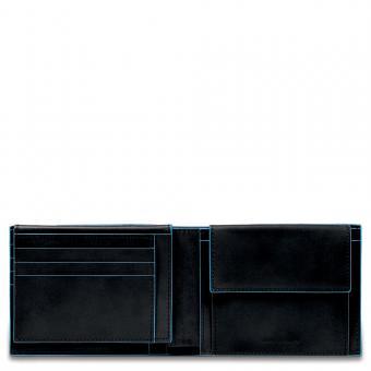 Piquadro Blue Square Herrenbrieftasche mit Portemonnaie, Kreditkartensteckfächern und Dokumentenfach Schwarz
