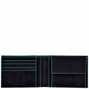 Piquadro Blue Square Herrengeldbeutel mit Kreditkartenfächern und Kleingeldfach mit RFID-Schutz Schwarz