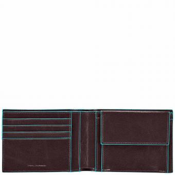 Piquadro Blue Square Herrengeldbeutel mit Kreditkartenfächern und Kleingeldfach mit RFID-Schutz Mahagoni