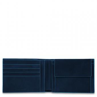 Piquadro Blue Square Herrengeldbeutel mit Kreditkartenfächern und Kleingeldfach mit RFID-Schutz Nachtblau
