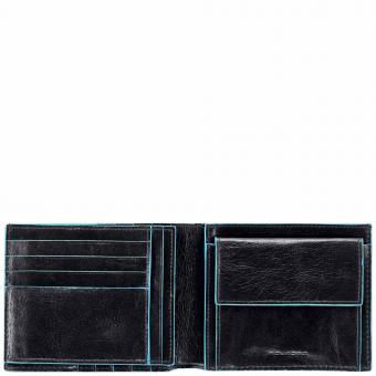 Piquadro Blue Square Herrengeldbeutel mit Kleingeld- und Dokumentenfach Schwarz
