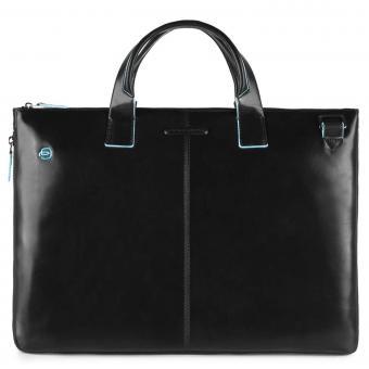 """Piquadro Blue Square Schmale, erweiterbare Laptoptasche 15.6"""" mit Tabletfach Schwarz"""