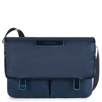 Piquadro Celion Messenger mit zwei Vortaschen und herausnehmbarerPC-, iPad®-Hülle mit Orga-Fächern blau