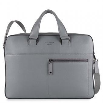 """Piquadro David Kurzgriff-Laptoptasche mit auswechselbaren Griffen 15"""" grigio"""