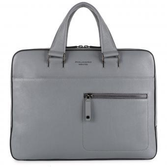 """Piquadro David Schmale Laptoptasche mit auswechselbaren Griffen 14"""" grigio"""