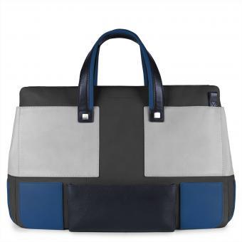 Piquadro Kirk Doppelgriff-Laptoptasche mit gepolstertem iPad® -Fach blau