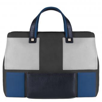 Piquadro Kirk Kurzgrifflaptoptasche mit iPad®-Fach blau