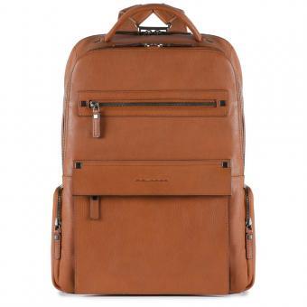 Piquadro Kolyma Laptoprucksack mit iPad®Air/Pro 9,7-Fach, Regenschirm- und Flaschentasche cuoio tabacco