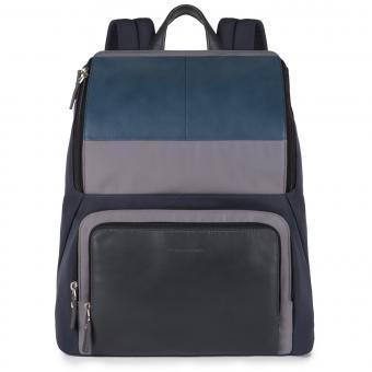 """Piquadro Michael Laptop-Rucksack aus Leder 15"""" blu"""