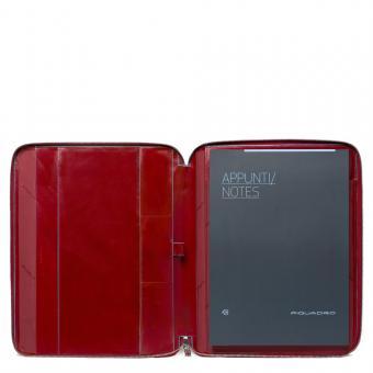 Piquadro Blue Square Schmale Schreibmappe aus Leder im A4-Format mit Reißverschluss und Stiftschlaufe Rot