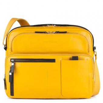 Piquadro Spock Reportertasche mit Notebookfach, Rengenschirmfach und Flaschenhalter gelb