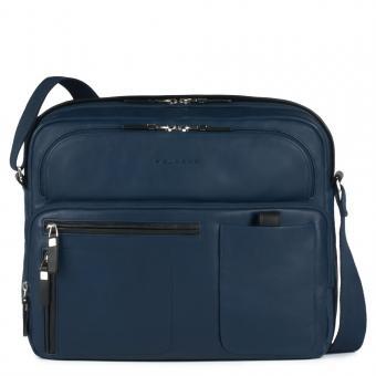 Piquadro Spock Reportertasche mit Notebookfach, Rengenschirmfach und Flaschenhalter Nachtblau