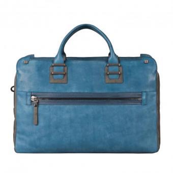 Piquadro TAU Doppelgriff-Laptoptasche mit Front-tasche und Fach für Tablet blue oil
