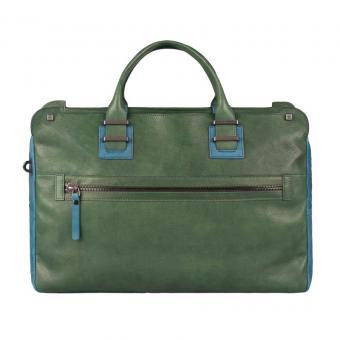 Piquadro TAU Doppelgriff-Laptoptasche mit Front-tasche und Fach für Tablet forest green