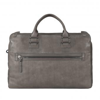 Piquadro TAU Doppelgriff-Laptoptasche mit Front-tasche und Fach für Tablet gunmetal grey