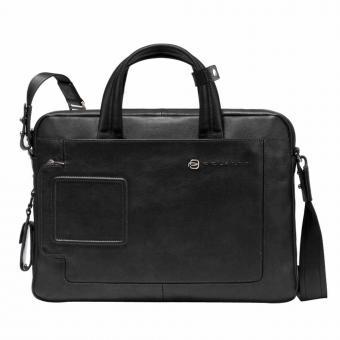 Piquadro Vibe Kurzgrifflaptoptasche mit einem Fach und RV-Vortasche black