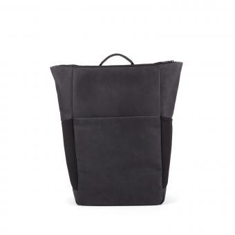 Salzen Sleekline Plain Backpack Leather 15,6 Zoll Charcoal Black