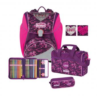 Scout Alpha Premium Schulranzen-Set, 4-teilig Glitter Heart