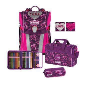 Scout Sunny Premium Schulranzen-Set, 4-teilig Glitter Heart
