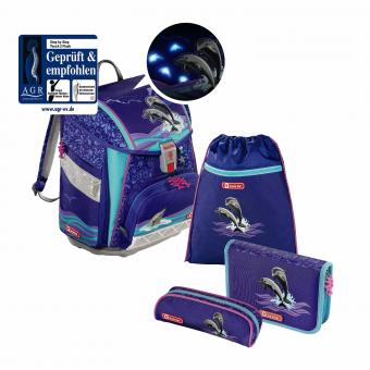 Step by Step Touch 2 Flash Schulranzen-Set,4-teilig Happy Dolphins