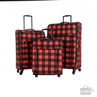 Travelite Campus Trolley-Set 2wS, 4wM und 4wL Karo Rot