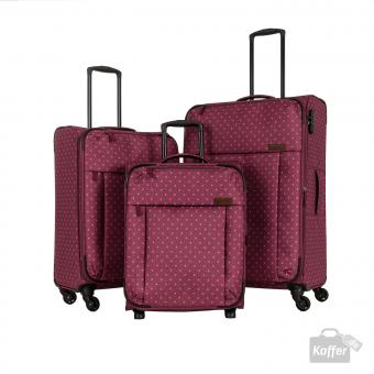 Travelite Campus Trolley-Set 2wS, 4wM und 4wL Pink gepunktet