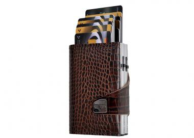Tru Virtu Click & Slide Doublewallet Croco Brown/Silver