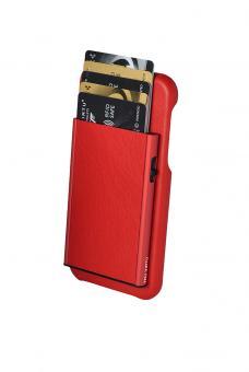 Tru Virtu Click & Slide Pay & Phone Kartenetui und Smartphoneülle - iPhone X Nappa Coral/Red