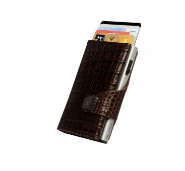 Tru Virtu Click & Slide Wallet Croco Brown