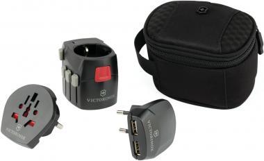 Victorinox Travel Accessories 4.0 Adapter mit 2 USB-Ladebuchsen, Schwarz