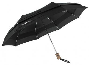 Wenger Woodenstyle Umbrellas Partner-Taschenschirm Automatik, doppel Nylon Schwarz