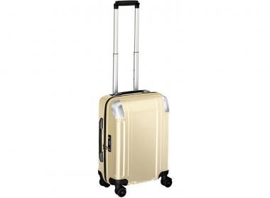Zero Halliburton Polycarbonate Zipped Carry on 4 Wheel Spinner Travel Case gold