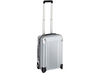 Zero Halliburton Polycarbonate Zipped Carry on 2 Wheel Travel Case Silver