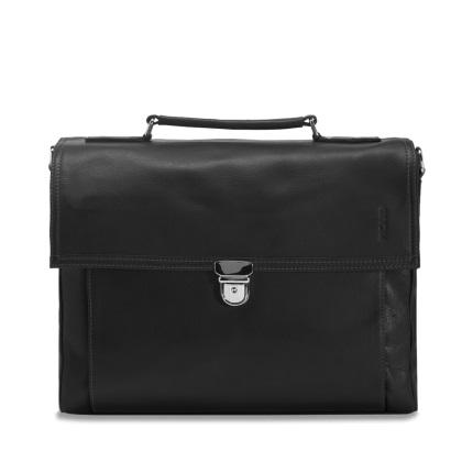 Männertasche Leder 30cm schwarz