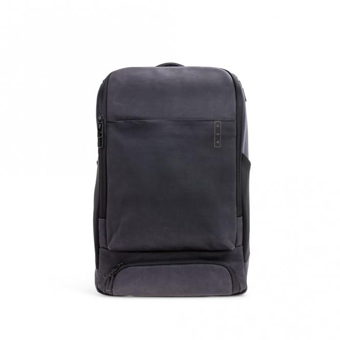 *Sleek* Leather Business Lederrucksack mit Laptopfach Charcoal Black