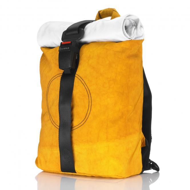 Rolltop-Rucksack mit Laptopfach gelb