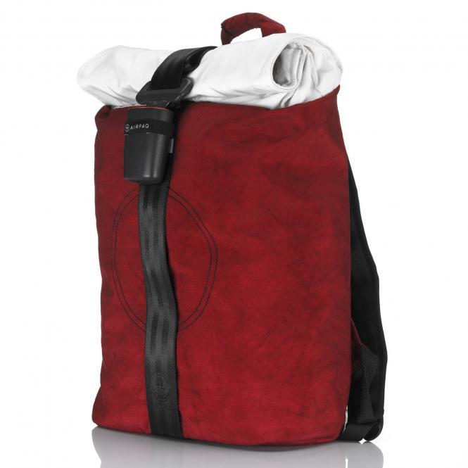 Rolltop-Rucksack mit Laptopfach rot