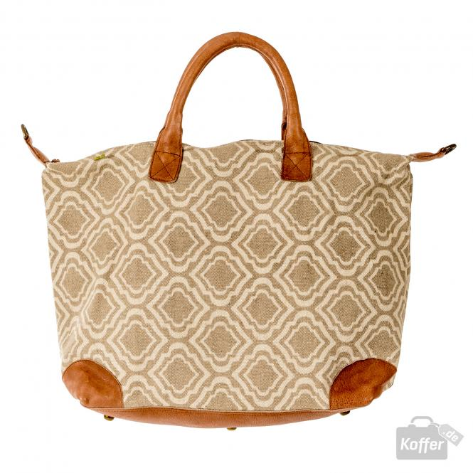 Klarine taupe canvas/rose leather