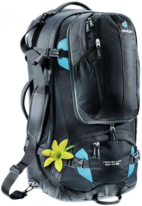 60 + 10 SL Reiserucksack black-turquoise