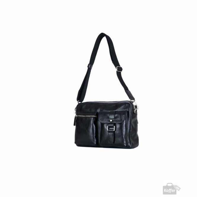 Männertasche Leder 33 cm schwarz