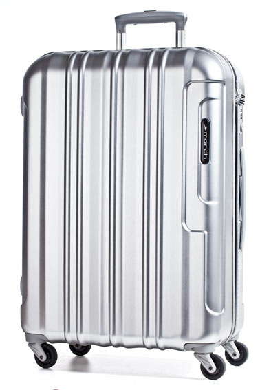 Trolley M 64cm 4W silver brushed alu look