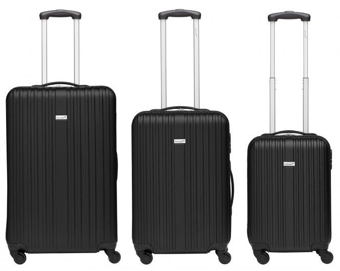 Koffer 3er-Set M, L + XL Schwarz