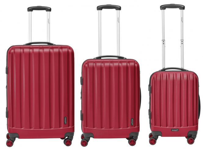 packenger velvet hartschalenkoffer 3er set rot jetzt auf. Black Bedroom Furniture Sets. Home Design Ideas