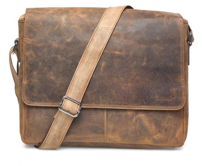 "Umhängetasche Messenger Bag 15"" Vintage Braun"