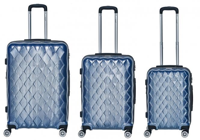Set 3-tlg. 4 Rollen, Trolley M / L / XL  52-68-76 cm blau
