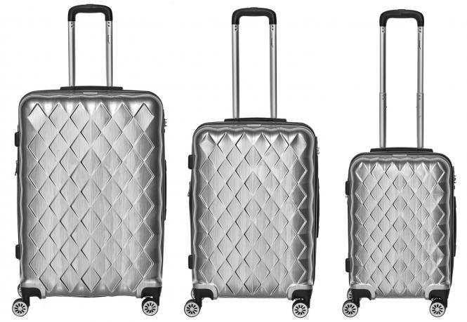 Set 3-tlg. 4 Rollen, Trolley M / L / XL  52-68-76 cm silber