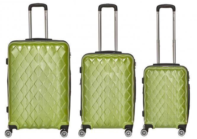 Set 3-tlg. 4 Rollen, Trolley M / L / XL  52-68-76 cm grün