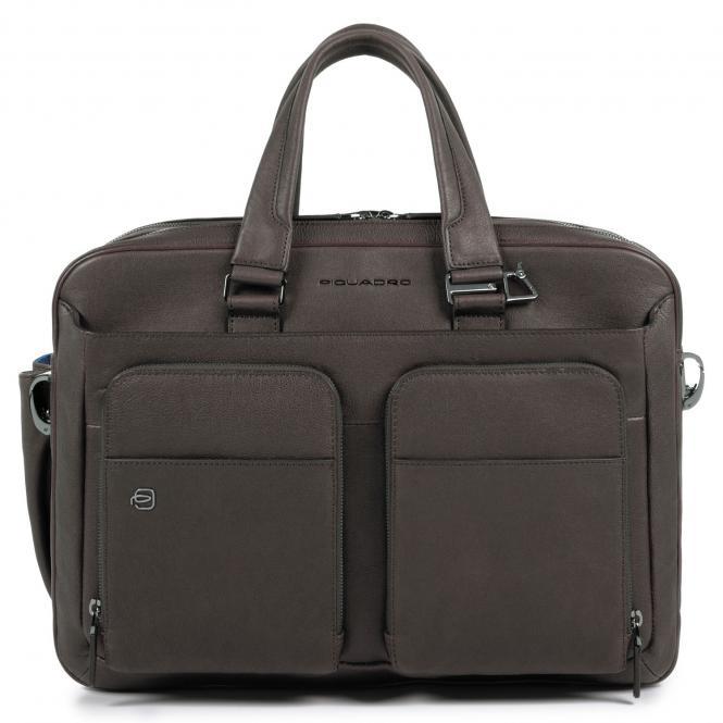 """Kurzgrifflaptoptasche 15"""" mit CONNEQU-Anhänger braun"""