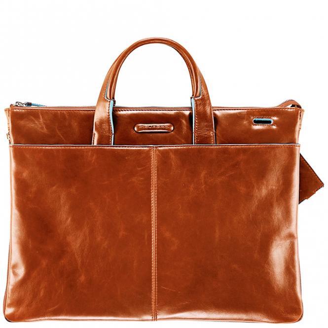 Erweiterbare, schmale Kurzgrifftasche mit doppeltem Fach Orange